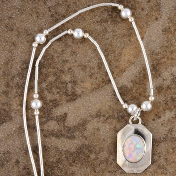 Handcrafted Luminous White Opal Pendant (India)