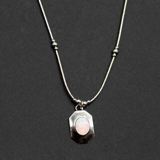 Handmade Luminous White Opal Pendant (India)