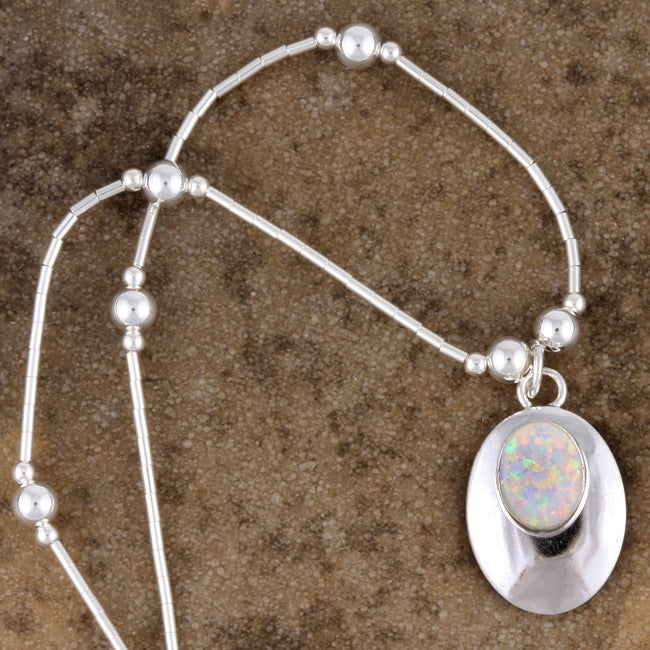 Handcrafted Glistening White Opal Pendant (India)