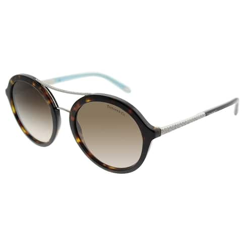 Tiffany & Co. Round TF 4136B 80153B Women Dark Havana Frame Brown Gradient Lens Sunglasses