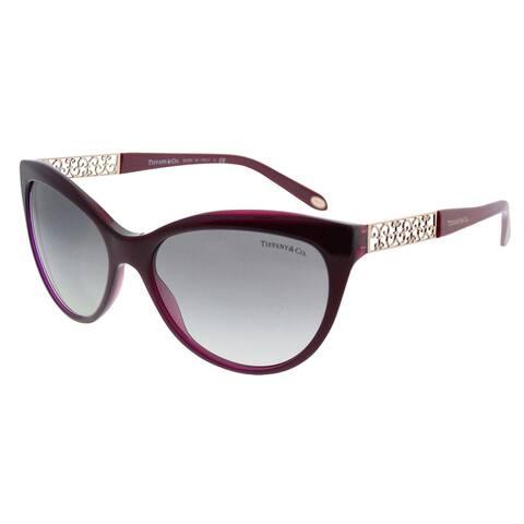 Tiffany & Co. Cat-Eye TF 4119 81733C Women Pearl Plum Frame Grey Gradient Lens Sunglasses