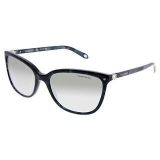 Tiffany & Co. Square TF 4105HB 82006V Women Blue Shell Frame Silver Mirror Lens Sunglasses