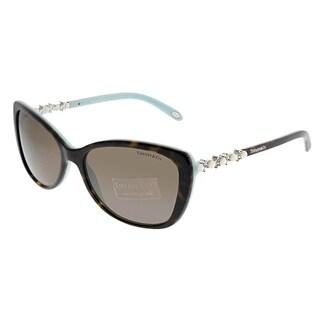 Tiffany & Co. Cat-Eye TF 4103HB 81343G Women Havana Blue Frame Brown Lens Sunglasses