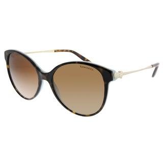 Tiffany & Co. Round TF 4127 81343B Women Havana Blue Frame Brown Gradient Lens Sunglasses