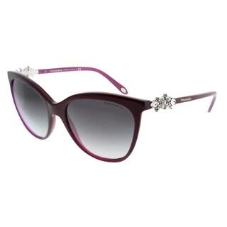 Tiffany & Co. Cat-Eye TF 4131HB 81733C Women Pearl Plum Frame Grey Gradient Lens Sunglasses