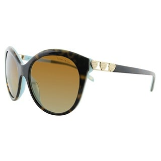 Tiffany & Co. Round TF 4133 8134T3 Women Havana Blue Frame Brown Gradient Lens Sunglasses