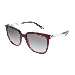 Tiffany & Co. Square TF 4138 80033C Women Opal Dark Cherry Frame Grey Gradient Lens Sunglasses