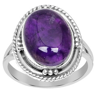 Orchid Jewelry 925 Sterling Silver 5.50 Carat Genuine Amethyst Cabochon Ring
