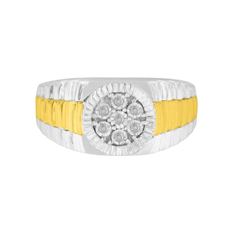 Two-Toned Sterling Silver 0.1ct TDW Diamond Gents Ring (I-J, I3)