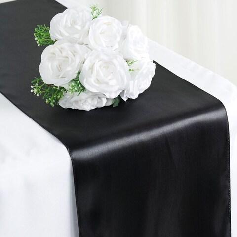 Satin Table Runner Wedding Party Banquet Black 12 x 108