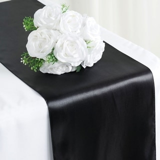 Satin Table Runner Wedding Party Banquet Black 12 X 108
