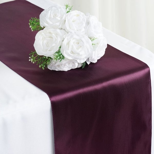 Satin Table Runner Wedding Party Banquet Eggplant 12 x 108
