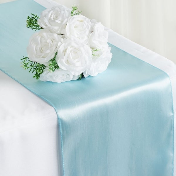 Satin Table Runner Wedding Party Banquet Light Blue 12 X 108