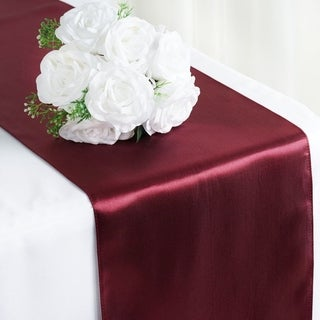 Satin Table Runner Wedding Party Banquet Burgandy 12 x 108