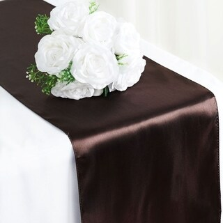 Satin Table Runner Wedding Party Banquet Chocolate 12 x 108