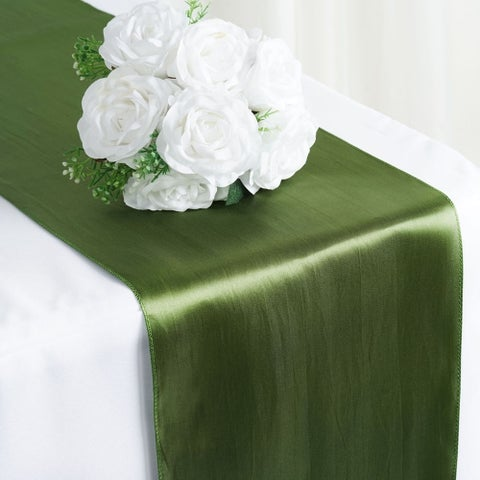 Satin Table Runner Wedding Party Banquet Willow Green 12 x 108