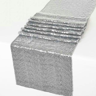 Glitz Sequin Table Runners Wedding Party Banquet Silver 12 x 108