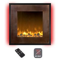 Electric LED Fireplace- Wall Mounted 13 Backlight Colors, 10 Flame Colors, Timer & Remote NO HEAT- 24 in  Northwest Bronze/Black