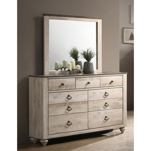 Imerland Contemporary White Wash Patched Wood Top Dresser Mirror