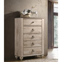 Imerland Contemporary White Wash Finish Patched Wood Top Chest
