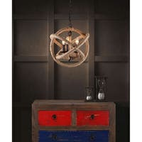 Pyper Marketing Iron and Jute Modern Rustic Ceiling Lamp