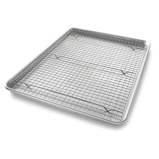 USA PAN Extra Large Sheet Baking Pan and Bakeable Nonstick Cooling Rack Set - Silver