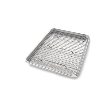 USA PAN Jelly Roll Baking Pan and Bakeable Nonstick Cooling Rack - Silver