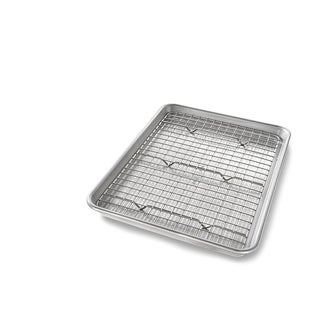 USA PAN Quarter Sheet Baking Pan and Bakeable Nonstick Cooling Rack - Silver
