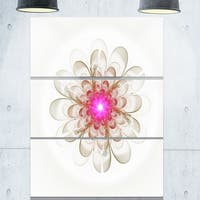 Simple White Pink Fractal Flower Art - Floral Glossy Metal Wall Art - 36Wx28H - 28W x 36H 3 Panel
