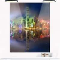Hong Kong Panoramic View - Seascape Photo Glossy Metal Wall Art