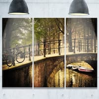 Designart - Romantic Bridge Over Canal - Landscape Photo Glossy Metal Wall Art - 36W x 28H 3 Panel