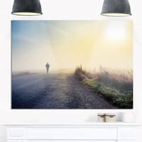 Man Silhouette in Fog - Landscape Photo Glossy Metal Wall Art