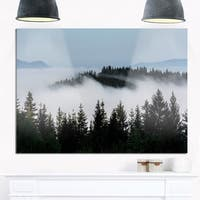 Dark Trees and Fog Over Mountains - Landscape Glossy Metal Wall Art