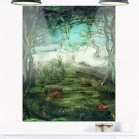 Green Forest Glade - Landscape Art Glossy Metal Wall Art