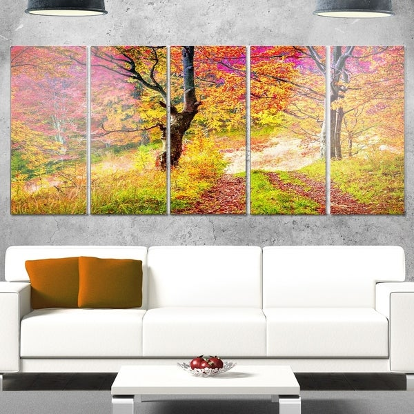 Shop Designart \'Bright Colorful Fall Trees in Forest\' Large ...