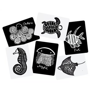 WEE GALLERY High Contrast Black and White Art Cards for Baby Sea Collection