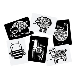WEE GALLERY High Contrast Black and White Art Cards for Baby Farm Collection