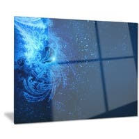 Designart 'Blue Falling Snow' Abstract Digital Art Metal Wall Art