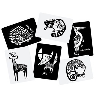 WEE GALLERY High Contrast Black and White Art Cards for Baby Woodland Collection