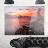 Red Rocky Beach with Ancient Ruins - Oversized Beach Glossy Metal Wall Art