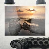 Dark Africa Beach with Ancient Ruins - Oversized Beach Glossy Metal Wall Art