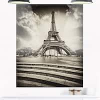 Eiffel Tower in Gray Shade - Landscape Photo Glossy Metal Wall Art