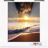 Sunset over Foaming Waves - Modern Beach Glossy Metal Wall Art