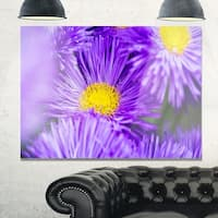 Bunch of Large Violet Flowers - Large Flower Glossy Metal Wall Art