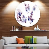 Designart 'Watercolor Flowers' Floral Glossy Large Disk Metal Wall Art