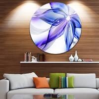 Designart 'Fractal Bright Blue Flower' Floral Art Large Disc Metal Wall art