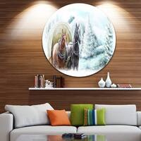 Designart 'Painted Scene with Horses in Winter' Landscape Disc Metal Artwork
