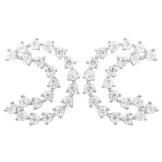 """Luxiro Sterling Silver White Cubic Zirconia Open """"C"""" Shaped Earring"""