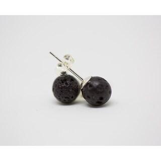 Sterling Silver Lava Bead Earrings