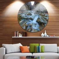Designart 'Blue Water in River' Landscape Photography Circle Wall Art